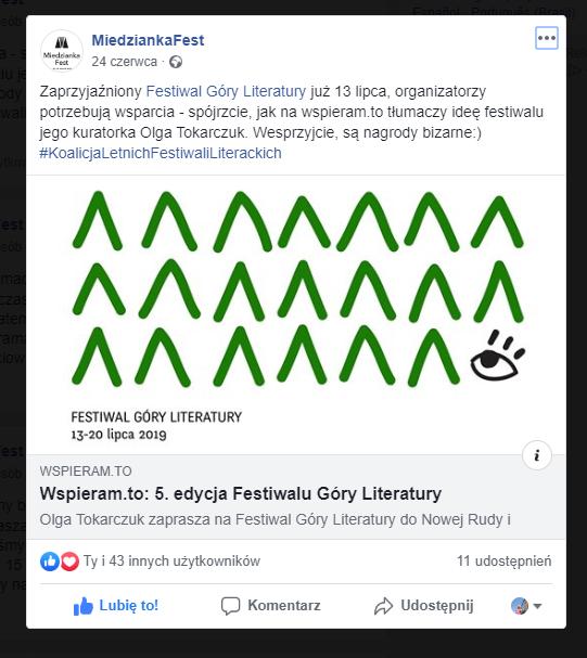 Miedzianka Fest wspiera Festiwal Gry Literatury
