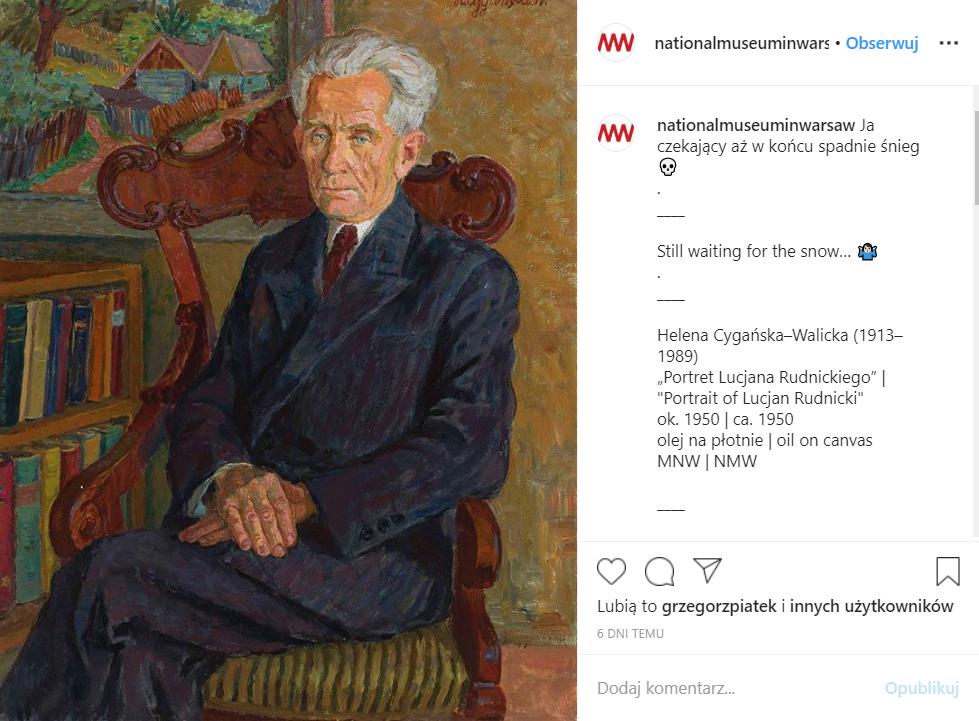 W oczekiwaniu na śnieg. Post profilu Muzeum Narodowego w Warszawie na Instagramie